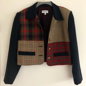 Vintage Cropped Mixed Plaid Blazer
